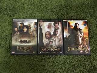 DVD lord of the Rings 1,2,3