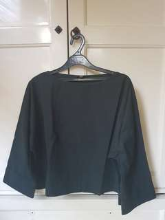 Uniqlo Dark Green Bell-Sleeved Blouse
