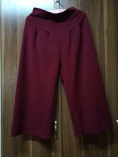 Dark Red Square Pants/ Culottes