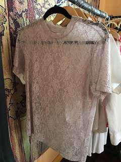 Pastel Sheer Lace T Shirt
