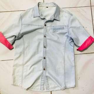 Faded denim blouse
