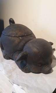 RARE ANTIQUE  -FRENCH -BABY PIG HARD CERAMIC  INTERIER GLASED MOULD SEAL MARK -COOKERY JAR / AUCTION