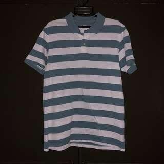 Pre-loved Uniqlo Blue Green Striped Polo T-shirt