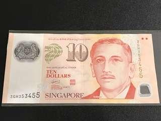 Portrait Series S$10 with No. 353 455