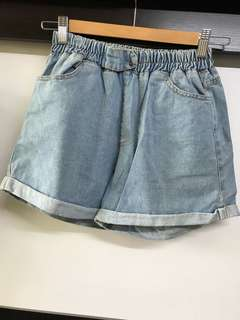 牛仔 鬆緊 短褲