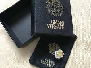 80年代 二手古董 GIANNI VERSACE 金銀雙色水鑽袖口鈕