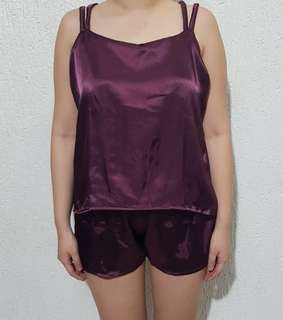 Carmen Silk Sleepwear Set (Sangria)