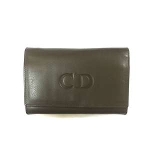 Authentic Dior Vintage Olive Green Tan Lambskin Wallet