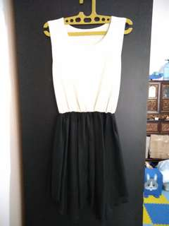 Black & white furing dress