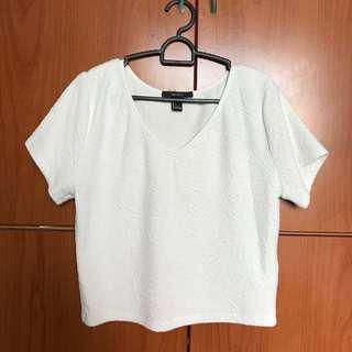 Forever 21 F21 Basic White Textured Crop Top