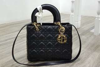 Authentic Lady Dior in Black Lambskin