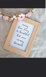 Customised quote in frame
