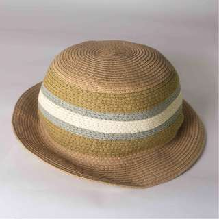 Brown Straw Fedora Hat