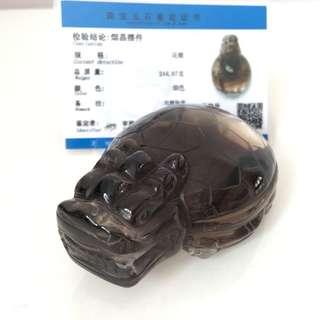 Smoky quartz tea crystal dragon turtle tortoise 茶晶龙龟 244g
