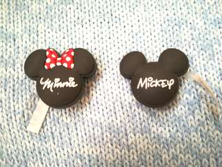 Jibbitz Inspired Crocs Charms: Black Mickey and Minnie Mouse Icons