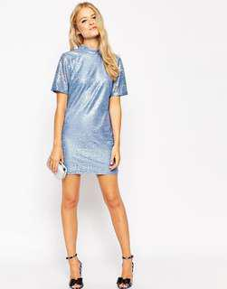 Blue Metallic Lace Mini T Shirt Dress