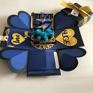 Explosion box with cake.  8 waterfall in navy blue and gold