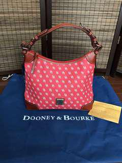 Authentic Dooney & Bourke Red/White Monogram Hobo