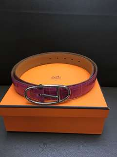 Hermes corco leather pink belt sz 80