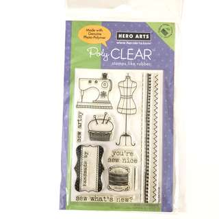 Hero arts sewing clear cling rubber stamp set