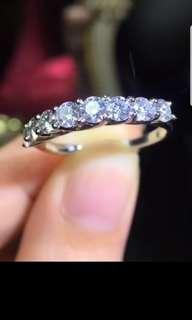 D色18K白金 莫桑鑽戒指