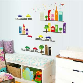 Cars and road children glow in the dark wall sticker