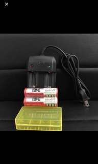 18650 Batteries And Charger Set