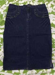 Knee Length Denim Skirt Size 30
