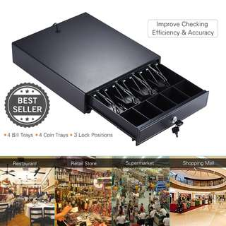 4 Bill 5 Coin Trays Money Cash  Drawer Box Case Storage Heavy Duty Electronic Support Push Manual Open Key-lock RJ11 Epson Star POS Printer Money Register