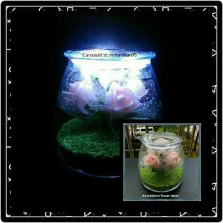 🚚 Pink Rose Arrangements with Fairy Lights, in Glass Dome Jar with Lid