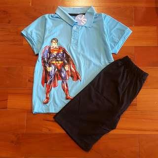 Casual set superman polo biru (reject)