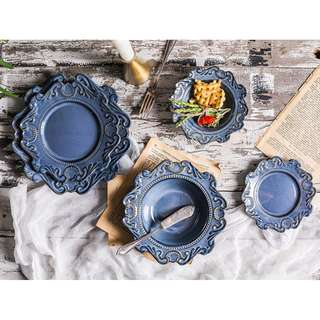 Grand European Pottery Relief Plates, 日本設計優雅歐式浮雕花邊餐碟
