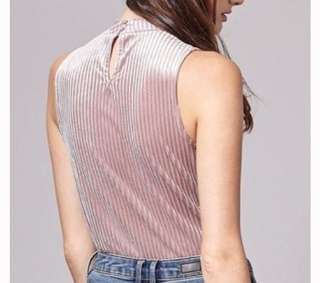 Stradivarius Pink Velvet Turtle Neck Sleeveless