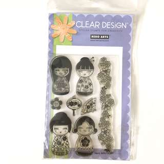 Hero arts four Japanese dolls girl clear cling rubber stamp set