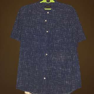 Pre-loved River Island Chinese Collar Printed Polo