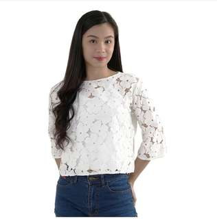 HTP White 3/4 Lace Top With Inner