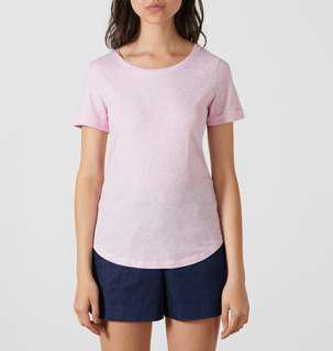 MARCS Pink Rachel Foil Spot Roll Sleeve Tee