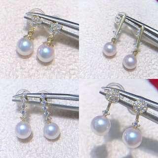 本週特價精選Akoya天女級珍珠耳環(4.5-5mm)14k金