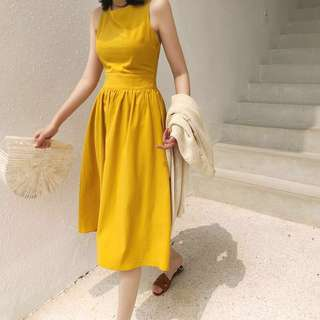 🚚 正韓製 Mihara 芥末黃厚麻料排扣打摺吊帶裙洋裝