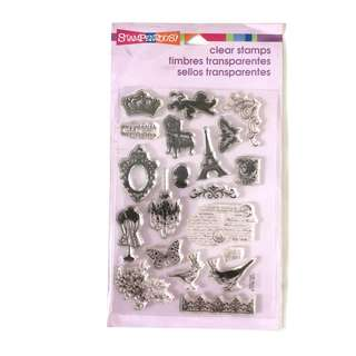 Stampendous charm collection Paris clear cling rubber stamp set