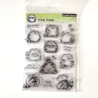 Penny black nine lives cats clear cling rubber stamp set