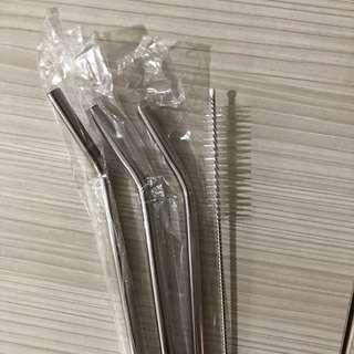Reusable straw/sedotan pakai ulang/sedotan stainless PAKET