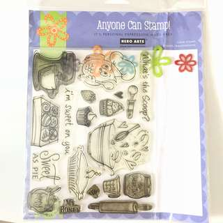 Hero arts owl cooking baking clear cling rubber stamp set
