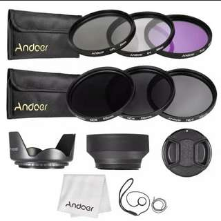 Andoer 55mm Lens Filter Kit with Carry Pouch/Lens Cap