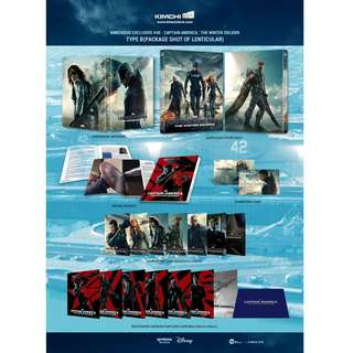 Captain America Winter Soldier 3D+2D blu ray movie (Kimchi Exclusive Lenticular Edition STEELBOOK)
