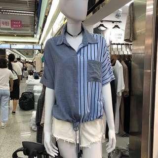 🚚 韓國東大門代購時尚女裝寬鬆短袖條紋襯衫上衣