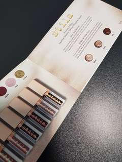BN Stila Shimmer & Glow Liquid Eyeshadow Sample Card