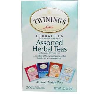 ❣️ONHAND❣️Twinings, Assorted Herbal Teas, Variety Pack, Caffeine Free, 20 Tea Bags, 1.23 oz (34 g)