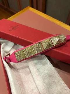 Valentino Pink Garavani Rockstud Crystal Studded Leather Bracelet
