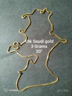 "18k Saudi Gold Necklace 3grams pawnable 20"""